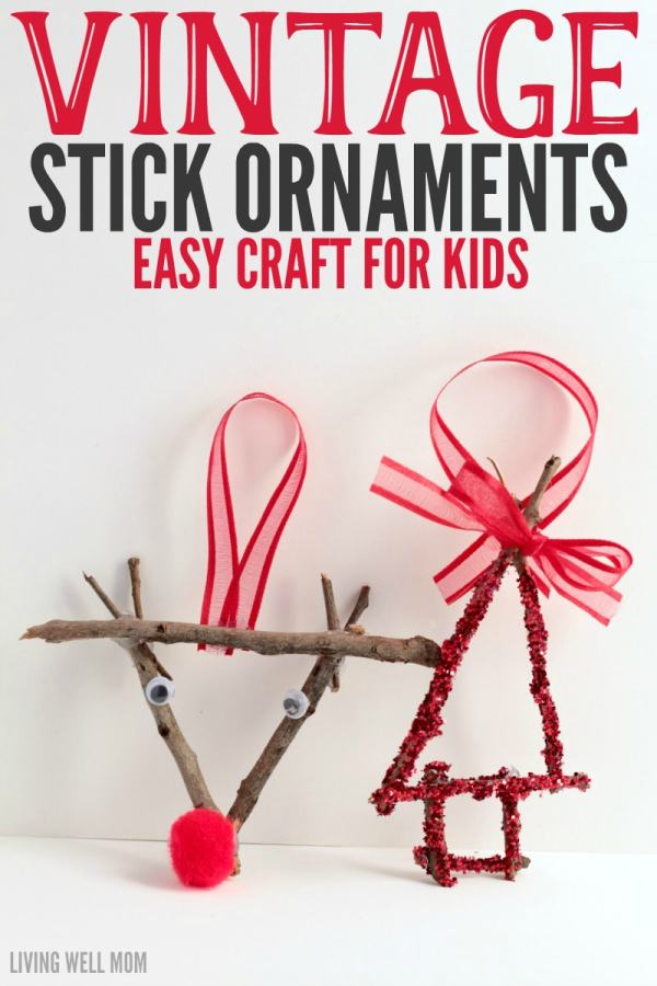 Give your Christmas a little vintage kick with these stick ornaments! These handmade ornaments are easy as a fun craft for kids and bring a delightful rustic touch to Christmas celebrations.