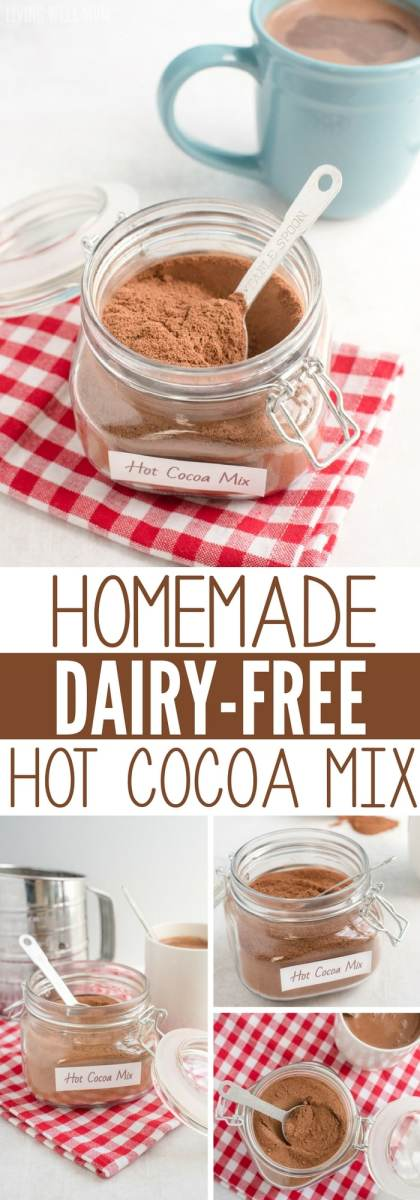 Looking for a hot cocoa mix without the junk ingredients? This homemade mix has 3 simple dairy-free ingredients and takes just 5 minutes to make! With no refined-sugar, this recipe gets two thumbs up from kids and moms!