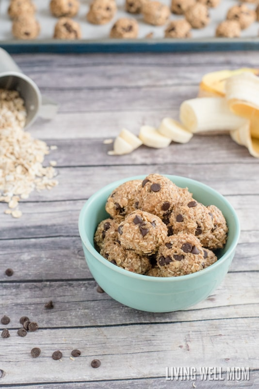 Sweetened only with bananas and honey, Banana Snack Balls are a tasty gluten-free snack kids love! Moms love this recipe too - it takes just 5 minutes to make, is no-bake, and has simple, wholesome ingredients.