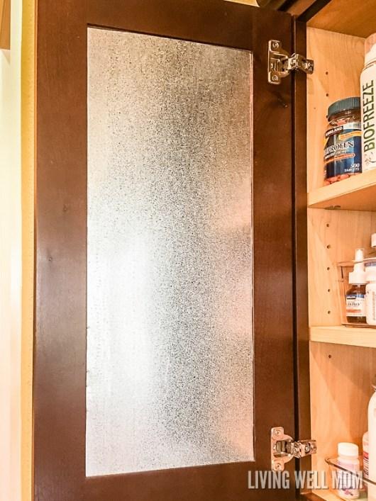 blank magnetic metal board in medicine cabinet