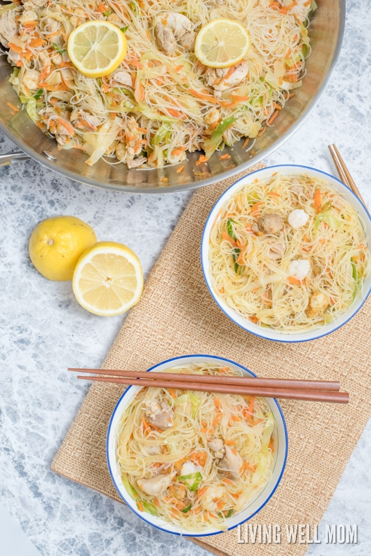One-Pot Pancit is a quick and easy rice noodle dinner the whole family will love. With chicken, shrimp, and vegetables, this delicious recipe is gluten-free and kid-approved too!