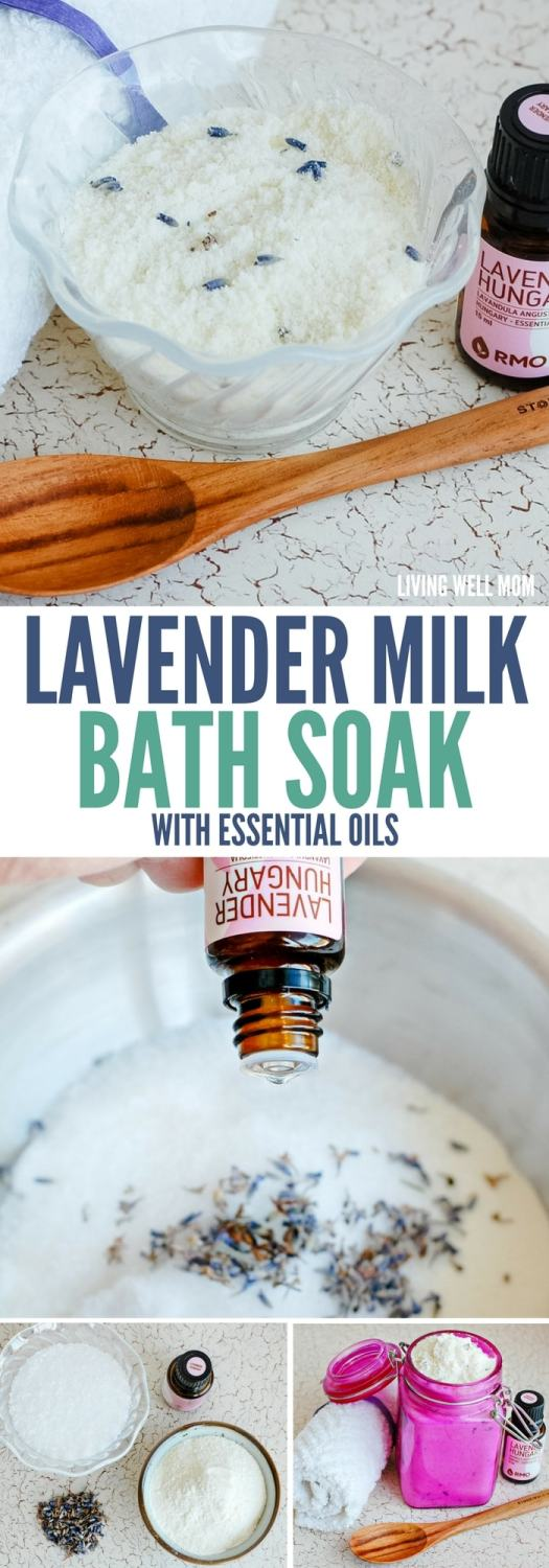 Treat yourself to a relaxing all-natural Lavender Milk bath soak using Epsom salts and essential oils. This also makes a wonderful homemade Mother's Day gift!