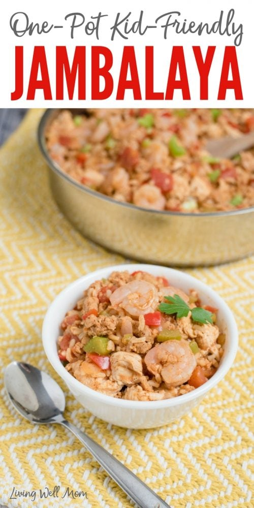 With shrimp, ground sausage, and chicken, this One-Pot Jambalaya dinner is kid-friendly and ready in 30 minutes or less!`