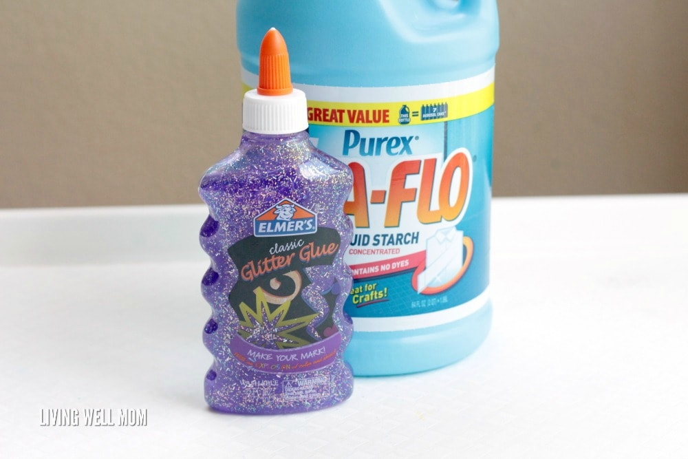 You only need 3 ingredients to make Glitter Glue Slime! Kids will love this fun, stretchy STEM activity!