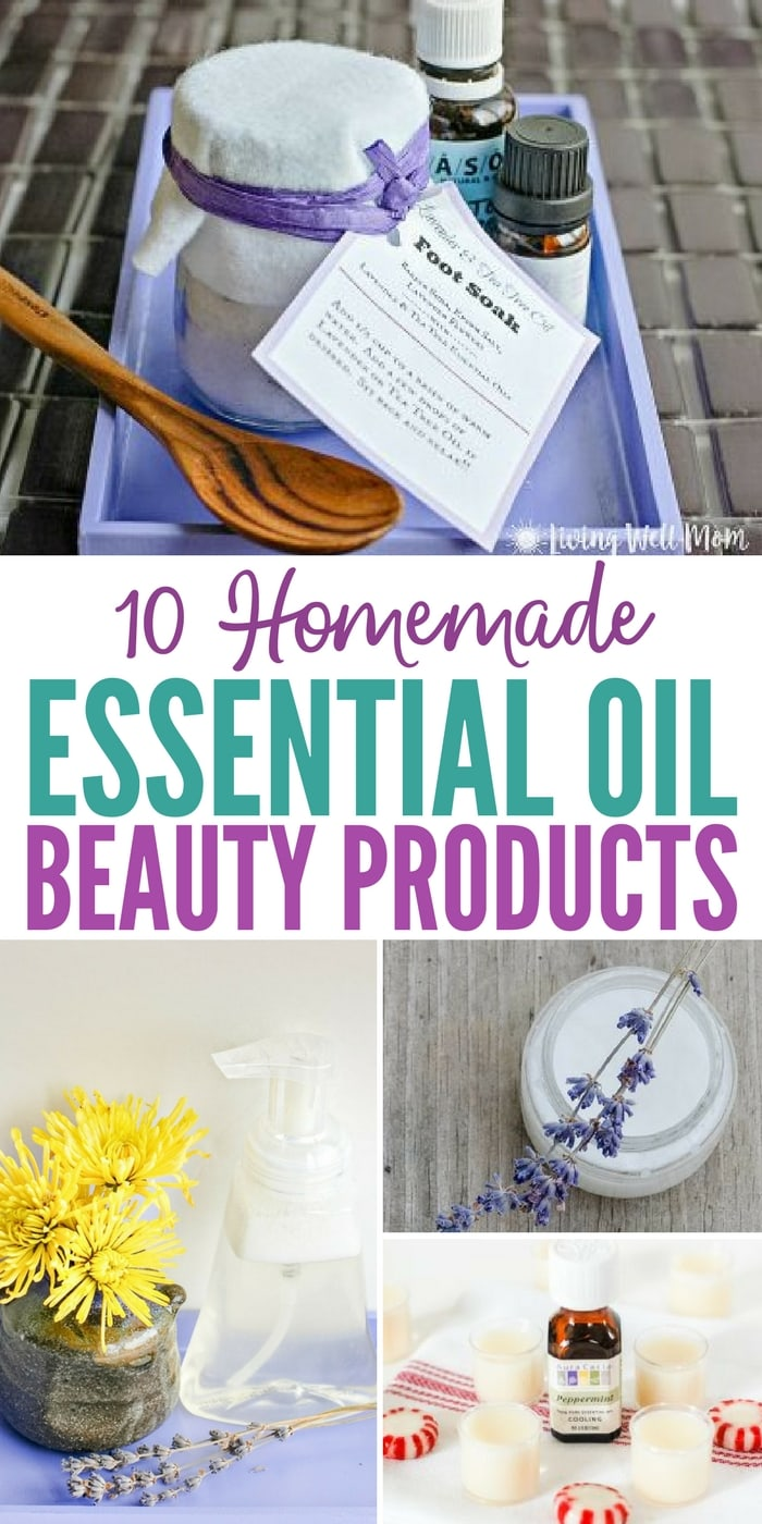 It's easy to make your own homemade essential oil beauty products (and cheaper than buying them in the store!). Here are 10 tried-and-true favorites you'll love, from all-natural body wash to lip balm, foaming face wash to acne relief!