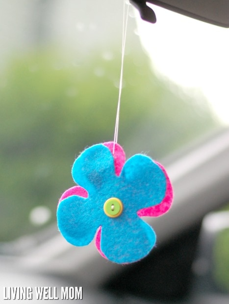 Try this simple DIY car air freshener with essential oils as an all-natural way to deodorize your car! It's so easy to make kids can help too!