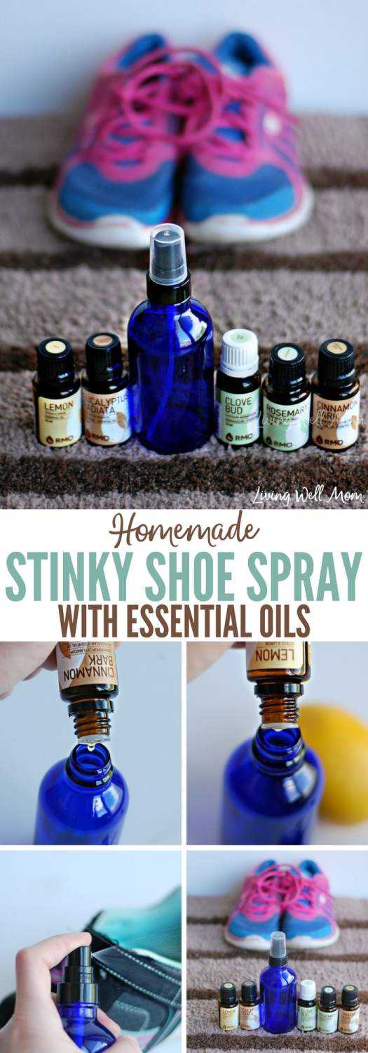 Got stinky shoes? Try this easy, all-natural DIY sticky shoe spray! With essentials oils and water, it's non-toxic and surprisingly effective!