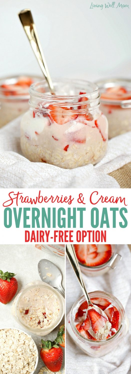 Strawberries and Cream Overnight Oats taste like a delightful strawberry treat, but are actually quite healthy. This easy no-cook recipe is a favorite simple breakfast for kids (and adults). Gluten-free and dairy-free options.