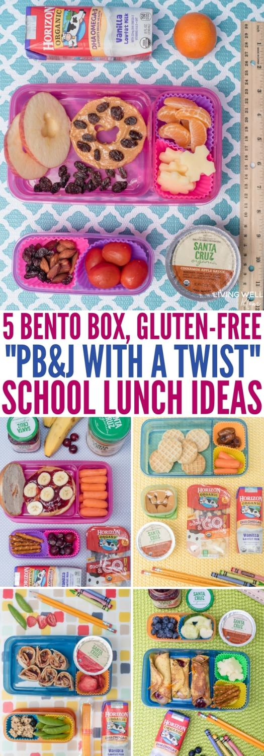 Fun gluten-free school lunch ideas plus 5 tasty gluten-free twists on peanut butter & jelly sandwiches kids will love! Easy bento box inspiration with nutritious snacks and extras.