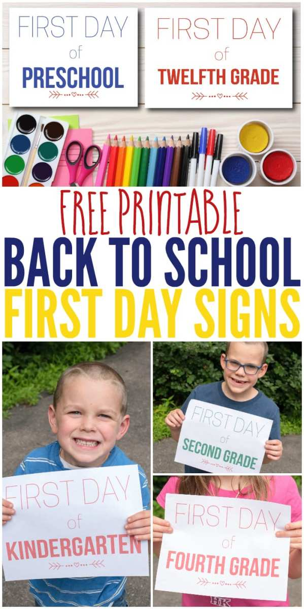 """Free Printable Back to School """"First Day"""" signs for grades preschool through 12th grade! This is a great way to easily capture beautiful memories of your children as they head back to school!"""