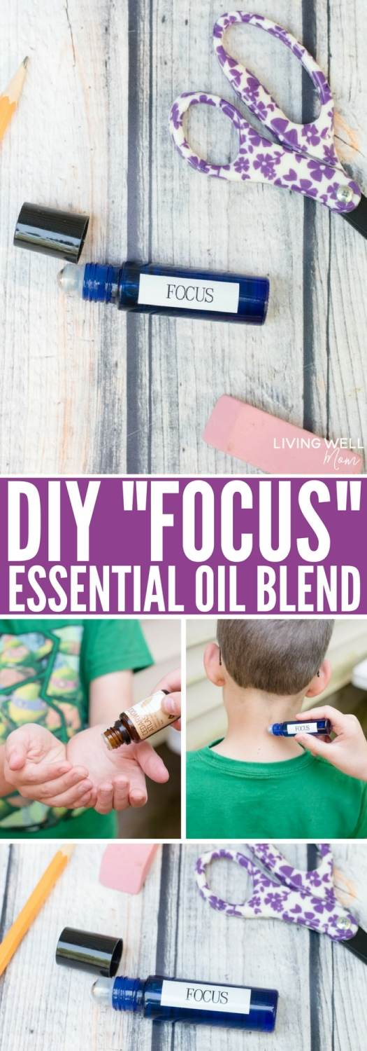 "This simple DIY ""Focus"" essential oil blend has done wonders for helping my kids focus, concentrate and not stress during school. I'm pretty sure their teachers love it too! This is all-natural and easy to make, plus it's great for ADD, ADHD, and autism."