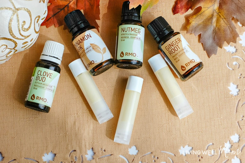 How to make DIY pumpkin spice lip balm; all you need are essential oils, 2 simple ingredients, and only 15 minutes! I love to make this all-natural lip balm as an easy homemade gift and of course, I always keep a couple tubes for myself!