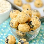 5-Minute Blueberry Snack Balls - this simple 5-ingredient recipe is naturally gluten-free, dairy-free, vegan, and nut-free too! We love this protein-packed snack for kids at school or at home. Plus this recipe is so quick and easy to make, my kids make it themselves!