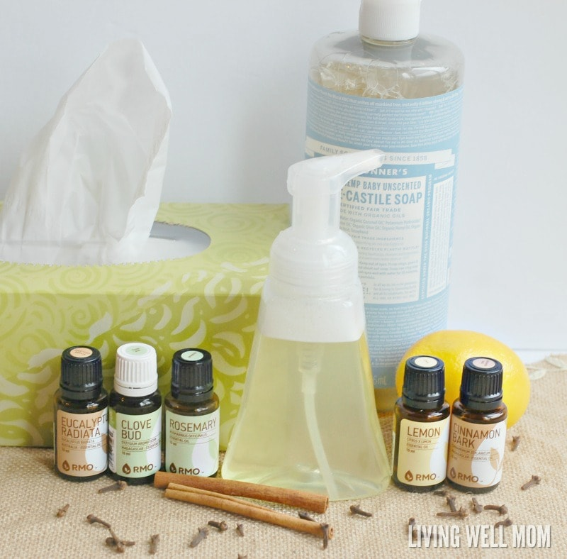 Want to kick the germs but stay natural without the antibacterial soap? This DIY Immune-Boost Foaming Hand Soap recipe couldn't be easier to make and naturally fights germs with essential oils!