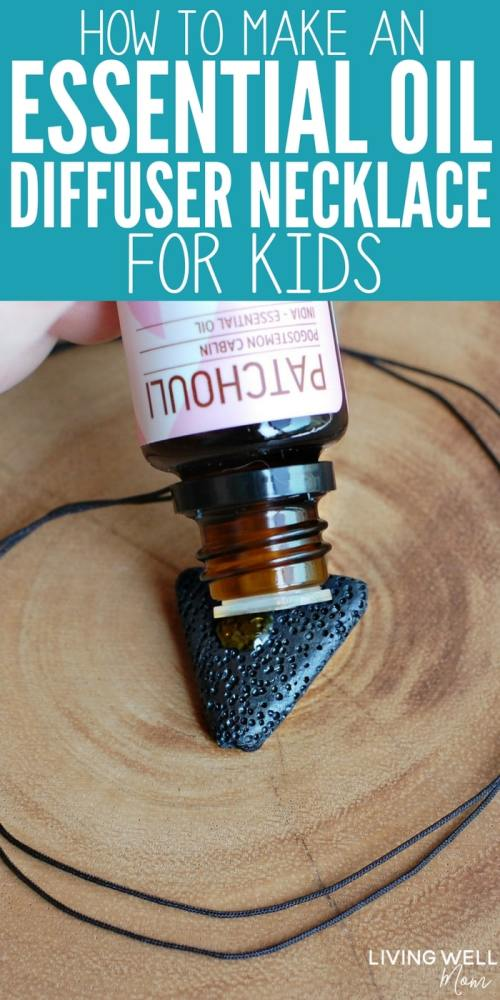 How to make a DIY essential oil necklace your kids will love! This simple homemade idea has designs for both boys and girls and is a great way for them to carry their favorite essential oil with them throughout the day!