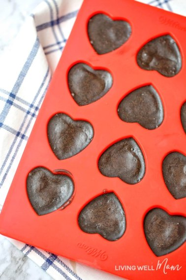 chocolate peppermint keto fat bombs in heart shaped mold