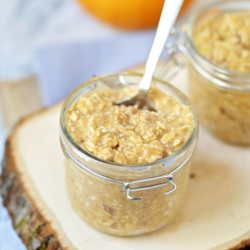 Can't get enough pumpkin spice? You'll love this recipe for Pumpkin Spice Overnight Oats! It's quick and easy and is a delicious, filling, ready-made breakfast for the next morning with no baking required. Gluten-free, dairy-free options too.
