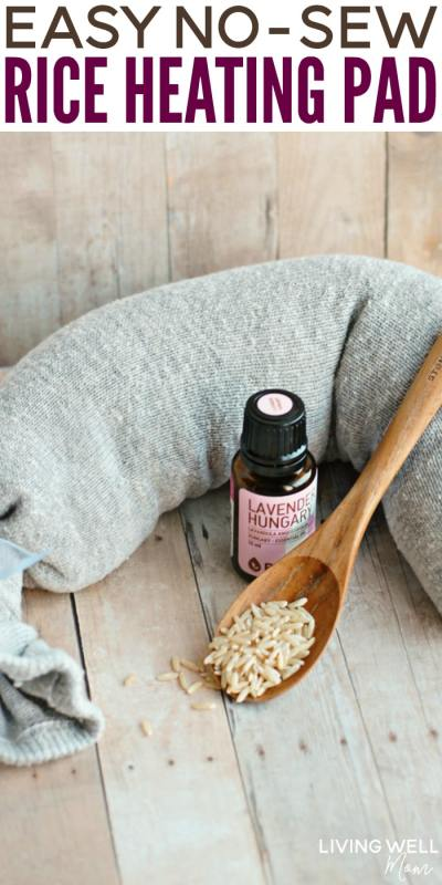Here's how to make an easy no-sew DIY rice heating pad that will come in handy for the whole family. whether you have a tense back or shoulders or simply want some extra warmth during the cold winter months. Plus how to add essential oils for added benefit!