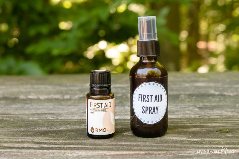 homemade first aid spray with essential oils