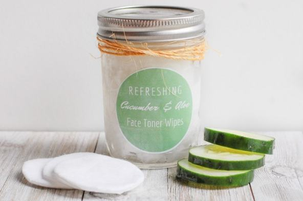cucumber DIY face toner wipes