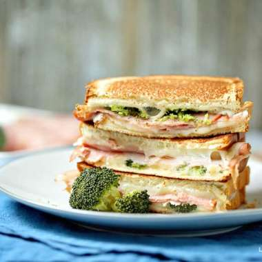 grilled cheese broccoli and ham sandwich