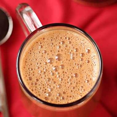 foamy dark chocolate mocha latte