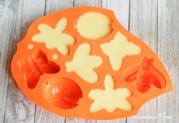 natural bug repellent melted and poured into a bug shaped silicone mold and cooled