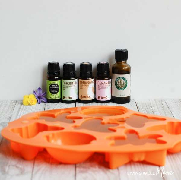 natural bug repellent melted and poured into a bug shaped silicone mold