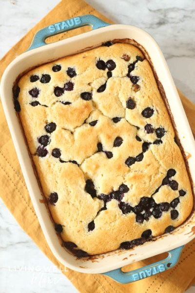 gluten free blueberry dump cake dessert