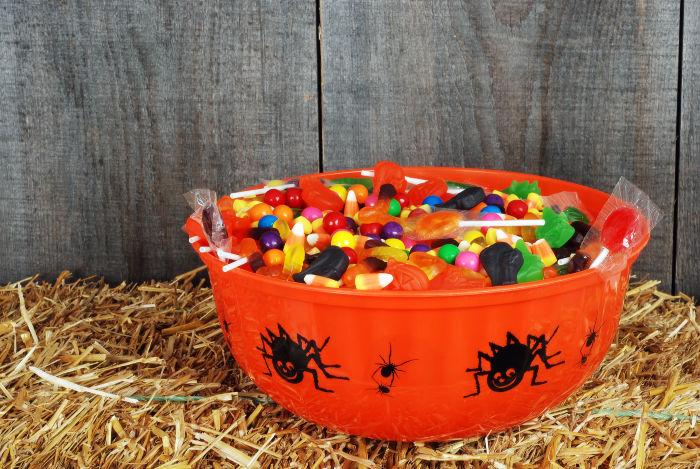 gluten free candy in orange Halloween bowl
