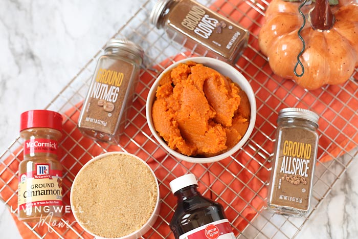 pumpkin spices, pumpkin, sugar and ingredients for pumpkin spice syrup