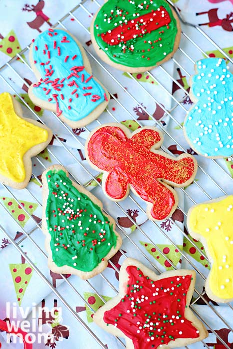 Christmas themed gluten-free sugar cookies on a wire rack
