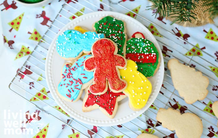 plate of frosted gluten-free sugar cookies for Christmas