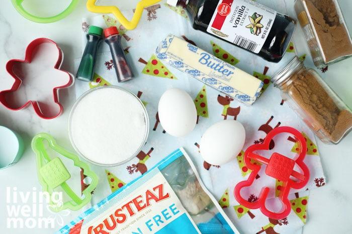 flour, eggs, butter ingredients for gluten-free sugar cookies