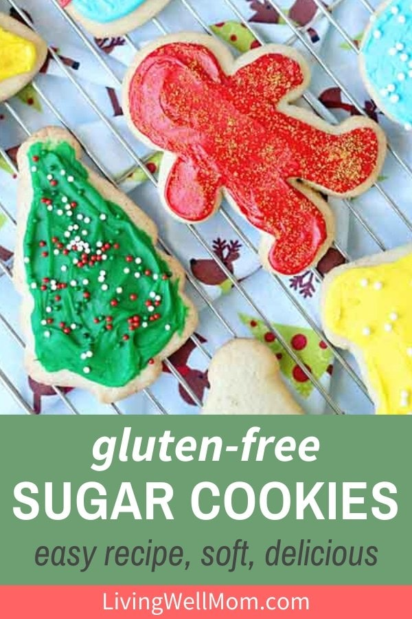 frosted gluten-free sugar cookies on a wire rack
