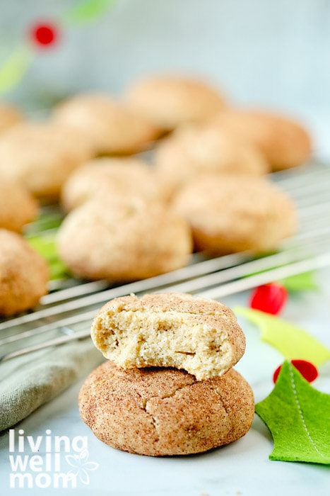 gluten-free snickerdoodle cookies with a bite out of it