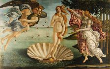 The Birth of Venus by Sandro Botticelli. Thought to be based in part on the Venus de' Medici, an ancient Greek marble sculpture of Aphrodite.