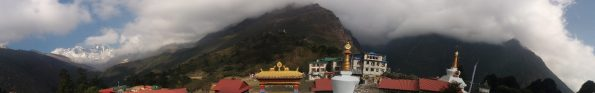 The beautiful Tengboche monastery and picturesque landscape with Everest in the background