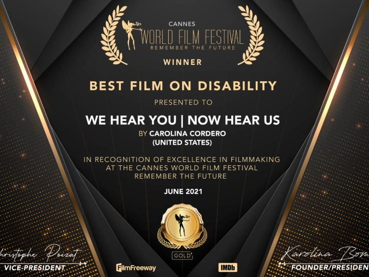 'We Hear You'Wins Best Film on Disability
