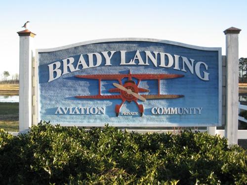 Brady Landing Aviation Community signage