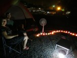 Friday night camp site set up with fairy lights!