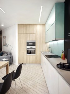 Recessed appliances, from oven to stovetop, create extra space and look extra stylish.