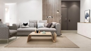 monder gray apartment wood accents