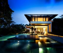 Glass Big Houses with Swimming Pools