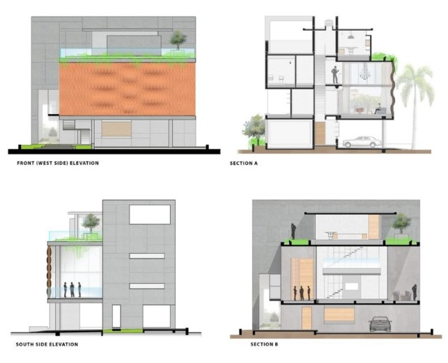 Brick curtain house elevation sections design work group