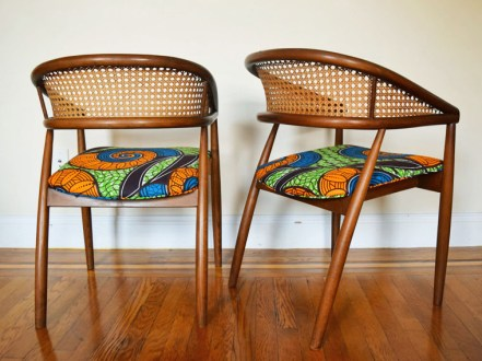 african mid centurey caned dining chairs 4