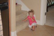 Trying to get into trouble on the stairs!