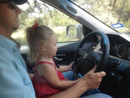 Driving in the driveway at the ranch