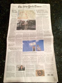 Scott makes the Front Page of the New York Times on his birthday!