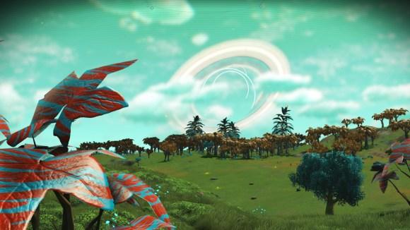 """Captura de tela do video game """"No Man's Sky"""". Paisagem com vegetação verde e vermelha, 3 três planetas alinhados ao fundo."""